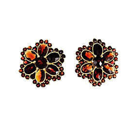 14K Yellow Gold Garnet Cluster Earrings