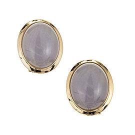 Natural Purple Jadeite Jade Earrings 14k Gold GIA Certified