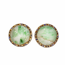 1930 Natural Jadeite Jade Carved Earrings Gold Plate Sterling Silver
