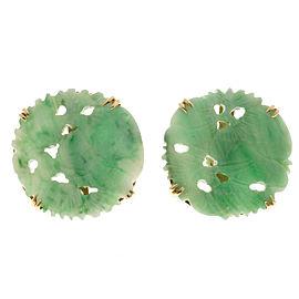 14K Rose Gold Jadeite Jade Earrings