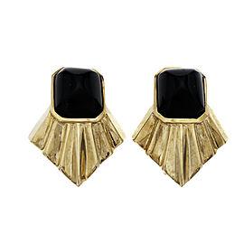 Vintage 1960 Black Onyx Cabochon Earrings 14k Yellow Gold