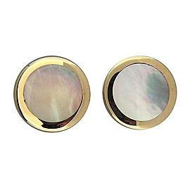 Omega Yellow Gold Mother Of Pearl, Pearl Womens Earrings