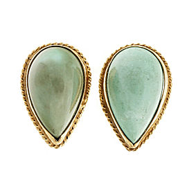 14k Yellow Gold Pear Shape Untreated Turquoise Vintage Earrings