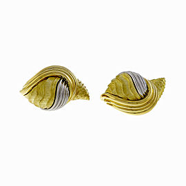 Henry Dunay Cinnabar 18K Yellow Gold & Platinum Textured Shell Earrings
