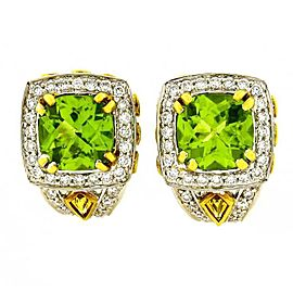 Charles Krypell 18K White Gold 4.46ct Peridot, Yellow Sapphire and Diamond Earrings