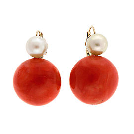 Vintage 14K Yellow Gold Orange Red Coral and Pearl Earrings