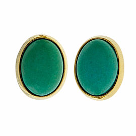 Vintage 18k Yellow Gold Clip Post Turquoise Earrings 1960