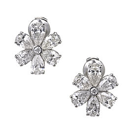 Platinum 6.70ct Diamond Cluster Earrings