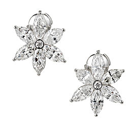 Platinum 6.41ct Diamond Cluster Earrings