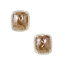 Peter Suchy Yellow Brown Cushion Diamond Halo Earrings 18k Gold GIA Certified
