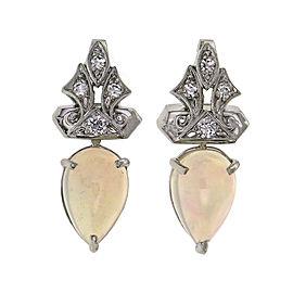 Peter Suchy Pear Shape Opal Drop Earrings 14k White Gold Diamond