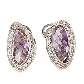 Superoro 18K White & Yellow Gold Diamond & Amethyst Earrings