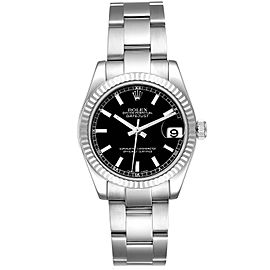 Rolex Datejust Midsize 31 Steel White Gold Black Dial Watch 178274 Box Card