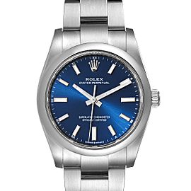 Rolex Oyster Perpetual 34mm Blue Dial Steel Mens Watch 124200 Unworn