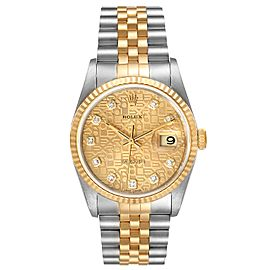 Rolex Datejust Jubilee Diamond Dial Steel Yellow Gold Mens Watch