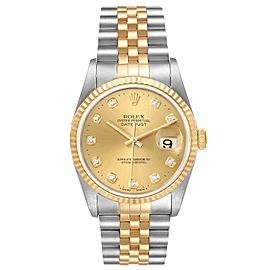 Rolex Datejust Steel Yellow Gold Champagne Diamond Dial Watch 16233