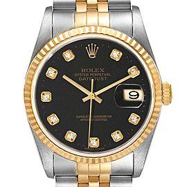 Rolex Datejust 18k Steel Yellow Gold Black Diamond Mens Watch 16233