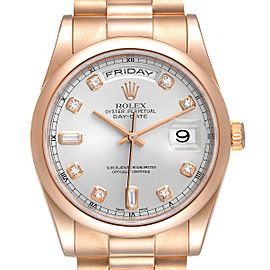 Rolex President Day Date 36 Rose Gold Diamond Mens Watch 118205 Box Papers
