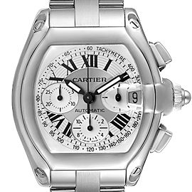 Cartier Roadster Silver Dial Chronograph Steel Watch W62006X6