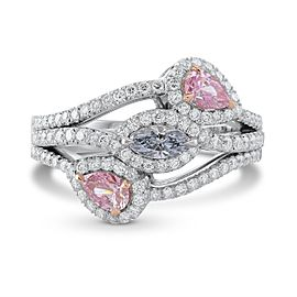 Leibish Platinum and 18K Rose Gold Mix Color and Mix Shape 3 Stone Diamond Ring Size 5.75