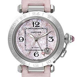 Cartier Pasha GMT Midsize Pink Dial Steel Ladies Watch W3107099