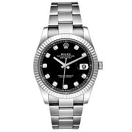 Rolex Datejust 41 Steel White Gold Diamond Mens Watch 126334