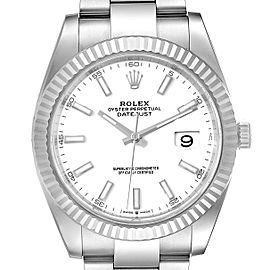 Rolex Datejust 41 Steel White Gold Fluted Bezel Mens Watch 126334