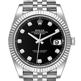 Rolex Datejust 41 Steel White Gold Diamond Mens Watch 126334 Unworn