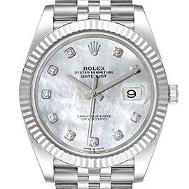Rolex Datejust 41 Steel White Gold MOP Diamond Mens Watch 126334 Unworn