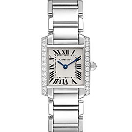 Cartier Tank Francaise 18K White Gold Diamond Ladies Watch WE1002S3
