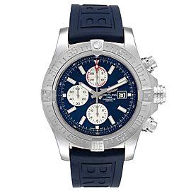 Breitling Aeromarine Super Avenger Blue Strap Mens Watch A13371 Box Card