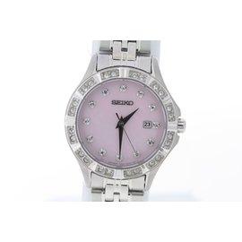Seiko SXDF13P1 Stainless Steel Quartz Swarovski Pink Dial Womens Watch