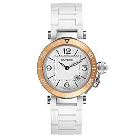 Cartier Pasha Seatimer Steel Rose Gold Rubber Strap Ladies Watch W3140001