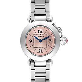 Cartier Miss Pasha Steel Pink Dial Ladies Watch W3140008 Box Papers