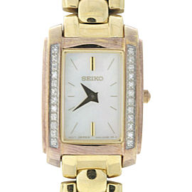 Seiko SUJF42 Gold-Tone Stainless Steel Mother of Pearl Dial 19mm Womens Watch