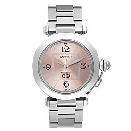 Cartier Pasha Big Date 35mm Pink Dial Steel Ladies Watch W31058M7 Box Papers
