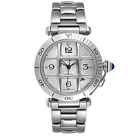 Cartier Pasha 38mm Silver Dial Steel Grid Unisex Watch W31059H3 Box Papers