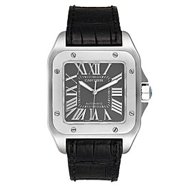 Cartier Santos 100 Gray Dial Black Strap Steel Watch W20073X8 Box Papers