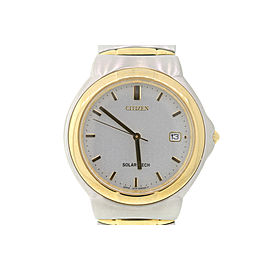 Citizen Stainless Steel & Yellow Gold Tone Beige Dial 35mm Mens Watch
