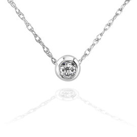 14K White Gold Mini 0.1ct Diamond Solitaire Bezel Necklace