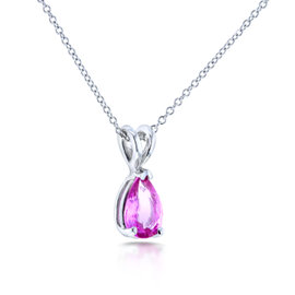 14K White Gold Pink Sapphire Solitaire Necklace