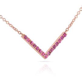 14K Rose Gold Pink Sapphire Chevron Necklace