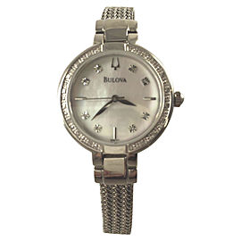 Bulova 96R177 Stainless Steel Diamond Mother of Pearl Dial 29mm Womens Watch
