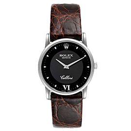 Rolex Cellini Classic Black Dial 18K White Gold Mens Watch 5116