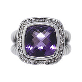 David Yurman Albion 925 Sterling Silver with Amethyst .25ct Diamond Ring Size 6