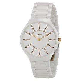 NWT Unisex Rado True Thinline R27957702 White Ceramic Rose Gold Diamond Watch