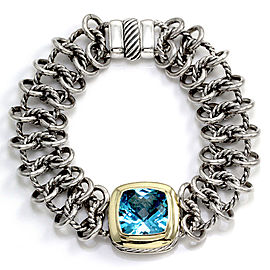 "David Yurman ""Albion"" Sterling Silver & 18K Yellow Gold Blue Topaz Bracelet"
