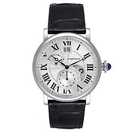 Cartier Rotonde Retrograde GMT Time Zone Steel Mens Watch W1556368 Unworn