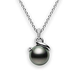 Mikimoto 18K White Gold Tahitian Pearl Diamond Pendant Necklace
