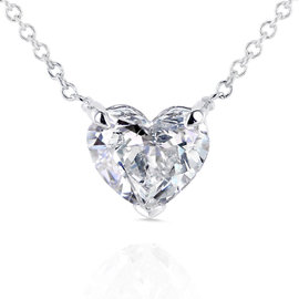 14K White Gold Floating Heart 1ct. Diamond Necklace